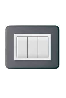 PLAQUE PERSONAL 44 RECTANGULAIRE GRIS FONCE 3 MODULES