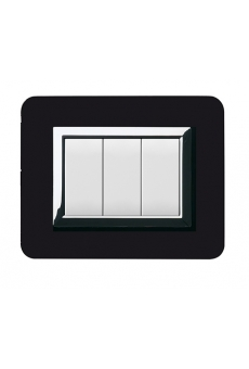 PLAQUE PERSONAL 44 RECTANGULAIRE NOIR ABSOLU 3 MODULES
