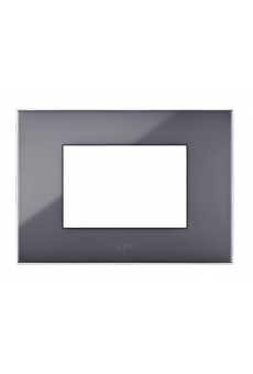PLAQUE YOUNG 44 RECTANGULAIRE GRIS 3 MODULES