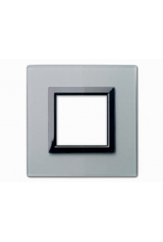 PLAQUE VERA 44 CARREE EN VERRE GRIS OPAQUE 2 MODULES