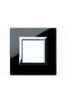 PLAQUE VERA 44 CARREE EN VERRE NOIR ABSOLU 2 MODULES