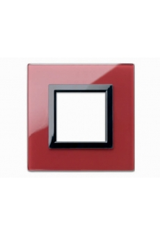 PLAQUE VERA 44 CARREE EN VERRE ROUGE POMPEI 2 MODULES