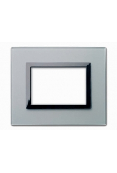 PLAQUE VERA 44 RECTANGULAIRE EN VERRE GRIS OPAQUE 3 MODULES