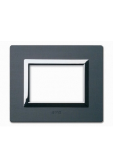 PLAQUE VERA 44 RECTANGULAIRE ALUMINIUM ANTHRACITE BROSSE 3 MODULES