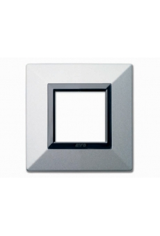 PLAQUE ZAMA 44 CARREE ARGENT OPAQUE 2 MODULES