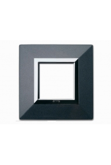 PLAQUE ZAMA 44 CARREE GRIS FONCE METALLISE 2 MODULES