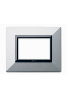 PLAQUE ZAMA 44 RECTANGULAIRE ARGENT OPAQUE 3 MODULES