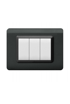 PLAQUE TECHNOPOLYMERE 44 RECTANGULAIRE GRIS FONCE 3 MODULES