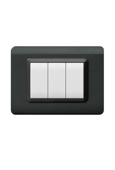 PLAQUE TECHNOPOLYMERE 44 RECTANGULAIRE GRIS FONCE METALLISE 3 MODULESé