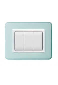 PLAQUE PERSONAL 44 RECTANGULAIRE BLEU BRILLANT 3 MODULES