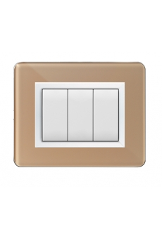 PLAQUE PERSONAL 44 RECTANGULAIRE BEIGE 3 MODULES
