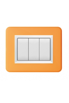 PLAQUE PERSONAL 44 RECTANGULAIRE ORANGE BRILLANT 3 MODULES